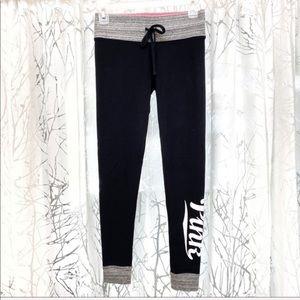 Pink Victoria's Secret black drawstring leggings